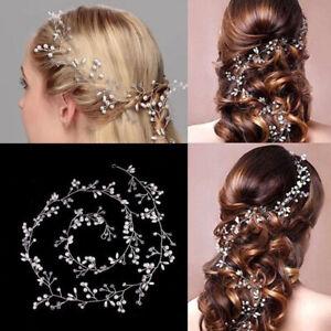 50cm-Headband-Tiara-Rhinestone-Bridal-Wedding-Hair-Chain-Faux-Pearl-Fashion