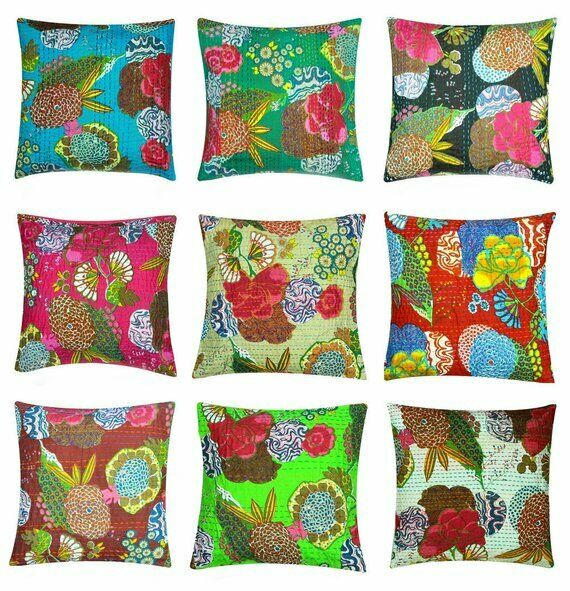 20 PC Lot Indian Kantha Cushion Pillow Cover Decorative Boho Handmade Embroidery