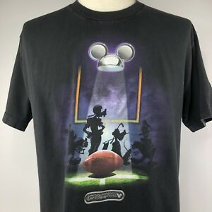 Walt Disney World Football Goal Post Shirt Sz Large Mickey Mouse Goofy Black Tee