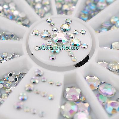 6 Sizes Nail Art Tips Crystal Glitter Rhinestone Decoration+Wheel #057G