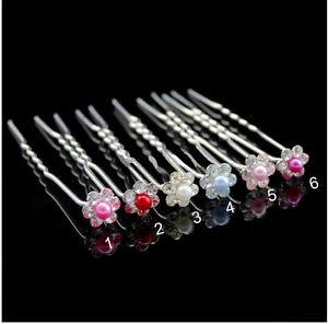 Haarnadeln X10 Blumen Perlen/Strass Metall Versilbert Braut Hochzeit 10 Farben