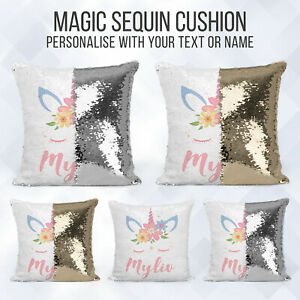 Personalised-Sequin-Cushion-Magic-Unicorn-Text-Reveal-Pillow-Case-amp-Insert