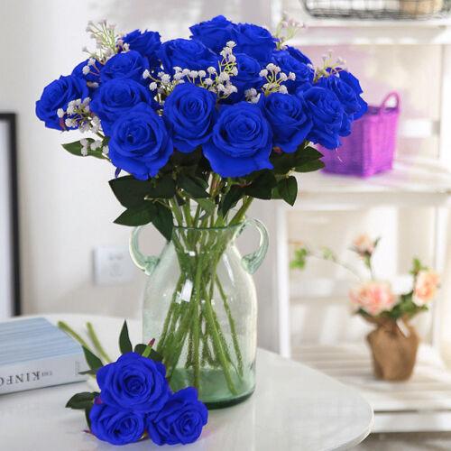 45cm Blue//green Artificial Rose Silk Flowers Flower Fake Valentines Wedding Deco