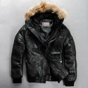 b522e36988f Leather Jacket Men s Outerwear Winter Black Coat Down Fur Collar ...
