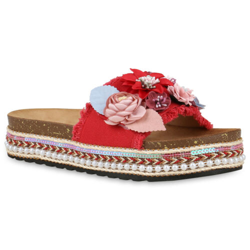 Damen Plateau Sandaletten Ethno Pantoletten Blumen Sommer 826503 Schuhe