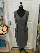 GRACE DRESSES Grey Pencil Dress with Black Piping in UK Size 14