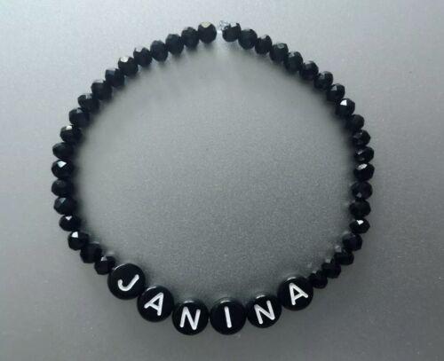 Namensarmband ♥ schwarz Glasperlen Buchstaben Armband mit Name Mama Geschenk