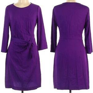 DIANE VON FURSTENBERG Zoe Silk Faux Wrap Dress Royal Purple 3/4 sleeves Sz. 12