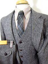 Vtg 100% Wool TWEED 3pc NORFOLK suit 42 L ~ Belted Back chinstrap VEST wedding