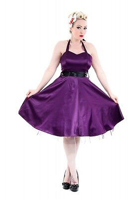 H&R LONDON PURPLE SATIN COCKTAIL HALTER 50s PINUP PUNK RETRO VINTAGE PROM DRESS