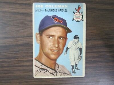 B67 Baltimore Orioles Moderate Price Systematic 1954 Topps # 156 Joe Coleman Card