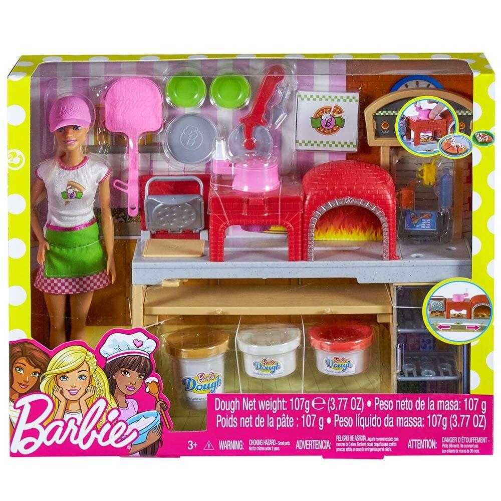 Bambola Barbie pizzeria forno a  legna pizza cuoca accessori chef playset cucina  grandi offerte