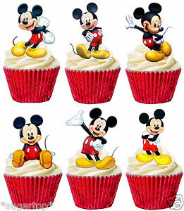 24 X Mickey Mouse Set Of 6 Designs Stand Ups Edible Cup Cake Toppers