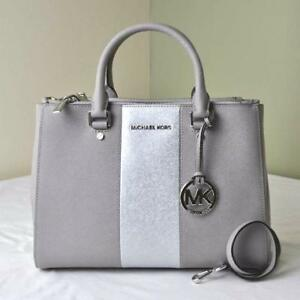 e477d6f8b12d Michael Kors Sutton Center Stripe Pearl Grey Leather Medium Satchel ...