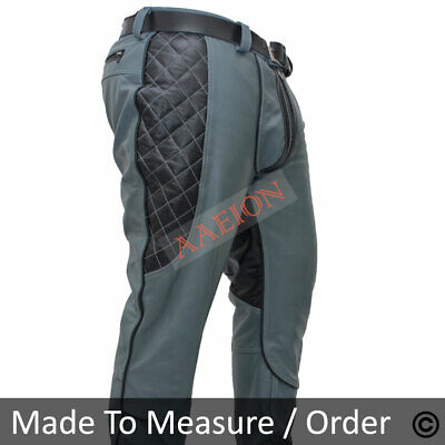 Men/'s Real Cowhide Leather Bikers Pants Quilted Panels /& Contrast Leather Pants