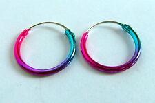 Pair Of Sterling Silver Anodised  Hoop Earrings 10 mm  !!     New  !!