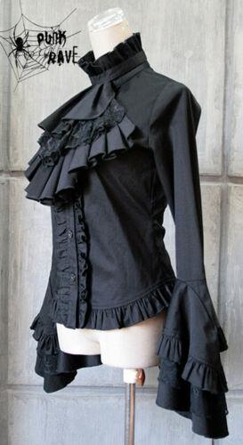 Gothic Punk Rave Cosfee Halloween WGT Damen Bluse Hemd schwarz weiß Y-213