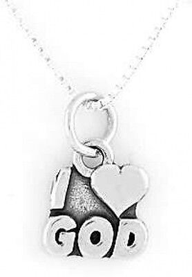 """STERLING SILVER I LOVE GOD CHARM WITH 16/"""" BOX CHAIN NECKLACE"""