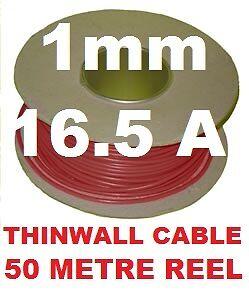 Carrete de Cable Automático 50M 1MM 16A 12V vehículo coche Telar de alambre 32//0.2 1.0MM Rojo 50 metros