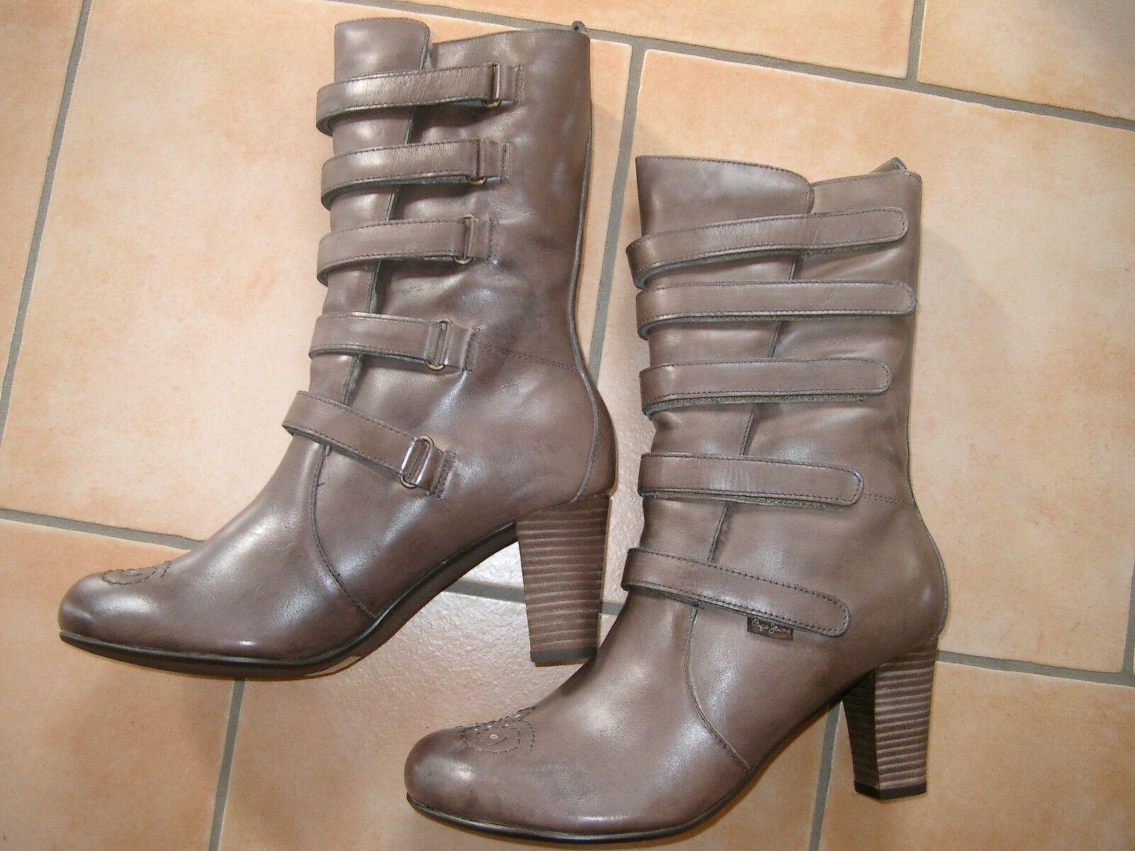 (Z26) (Z26) (Z26) Hohe Pepe Jeans Damen Schuhe Leder Stiefel gefüttert Klettverschluß gr.37 b5c63a