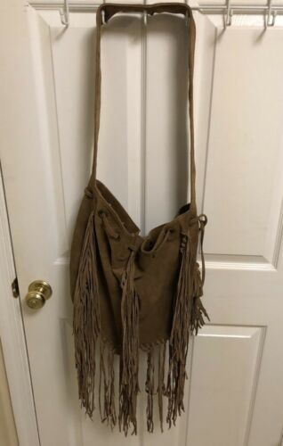 Raj Suede Brown Fringe Bag Handbag