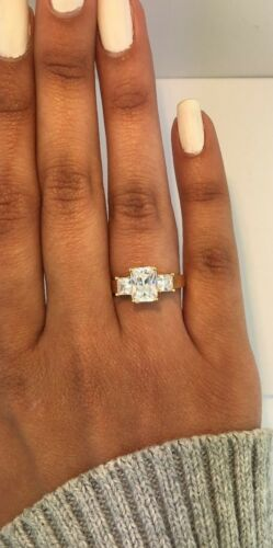 14k Solid Yellow Gold 2.95 Ct Baguette Diamond 3 Stone Engagement Wedding Ring