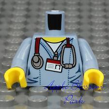 NEW Lego Minifig DOCTOR TORSO Blue Surgeon Scrubs Hospital Shirt Nurse White ID