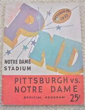 1935--NOTRE DAME (BILL SHAKESPEARE) v. PITTSBURGH--FOOTBALL PROGRAM--XLNT