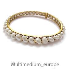 Gold Süßwasser Perlen Armband Armreif 22k 22ct karat fresh w pearl gold bracelet