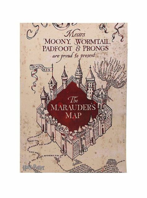 photograph about Marauders Map Printable identified as HARRY POTTER MARAUDERS MAP MOONY WORMTAIL PADFOOT PRONGS Picket WALL Artwork Manufacturer Refreshing