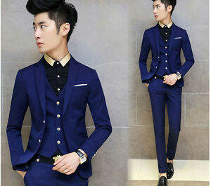 Image Is Loading 3 Pieces Men One On Slim Fit Wedding