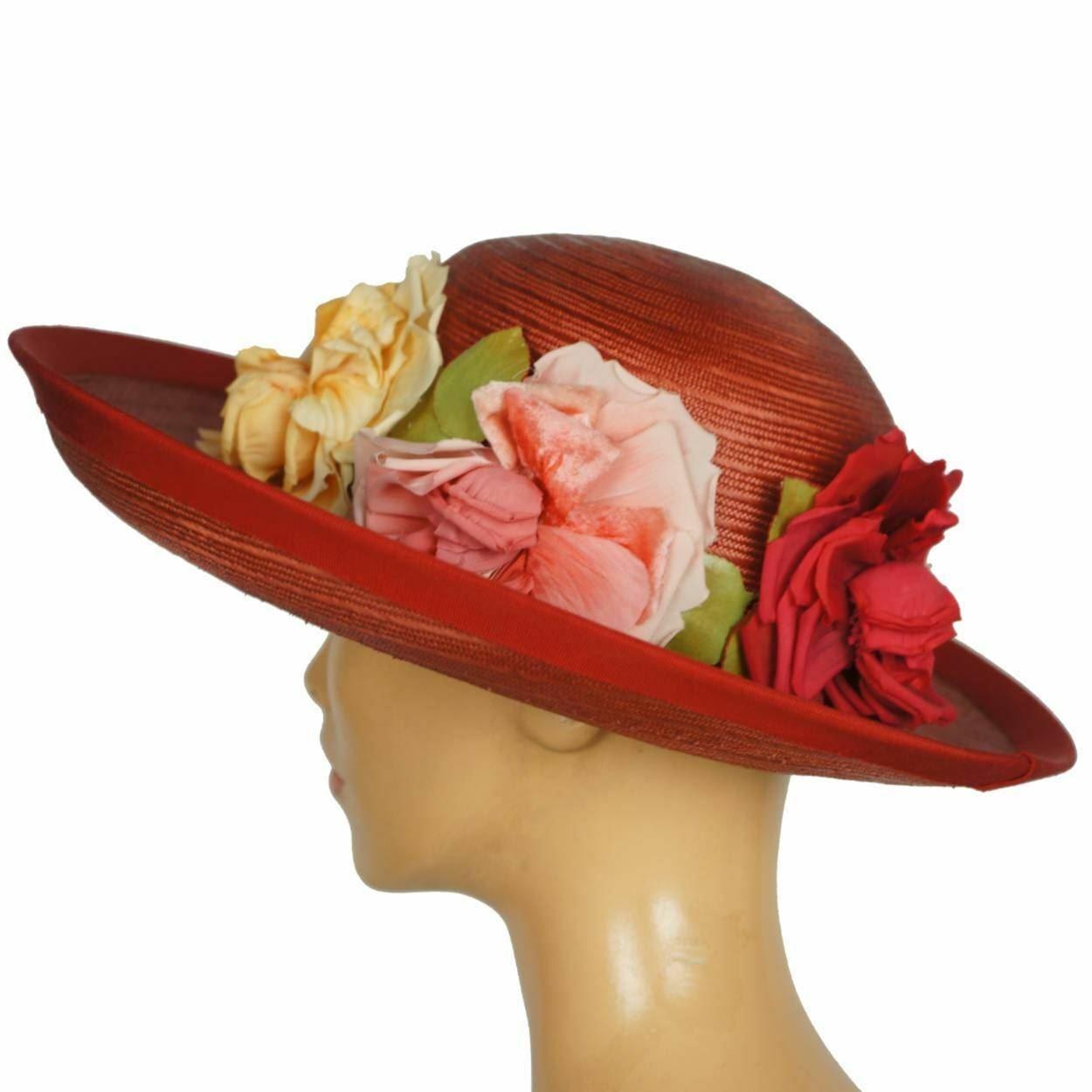 Vintage 1940s Red Straw Hat Wide Brim Flower Deco… - image 1