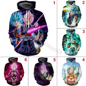 Details about Dragon Ball Z Pullover Sweatshirts Super Saiya Son Goku Vegeta 3D Hoodie Sweater