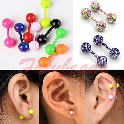 2X Stainless Steel Ball Ear Studs Cartilage Tragus Barbell Bar Earring Piercing