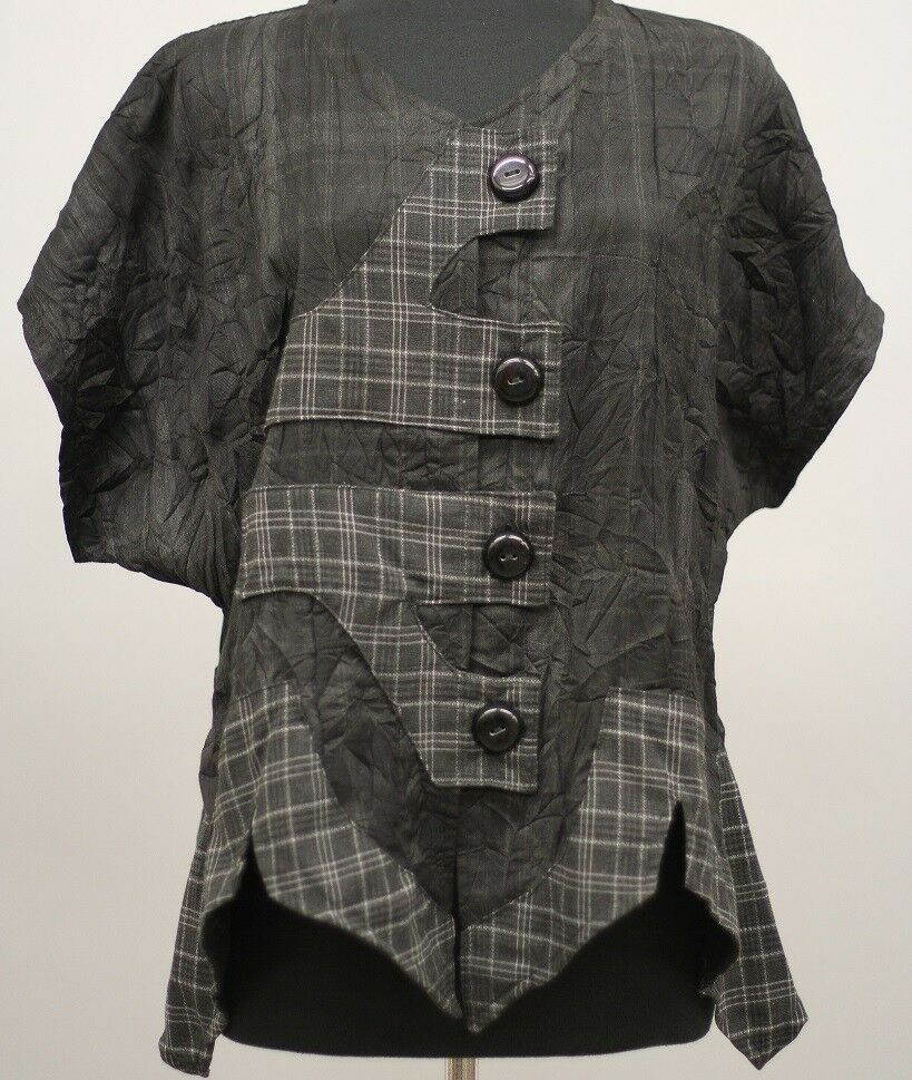 PRISA EUROPEAN LAGENLOOK CRINKLED ASYM BUTTONED CARDIGAN TOP CHARCOAL Sz 0