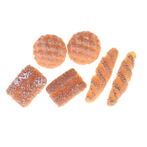 6Pcs 1:12 Dollhouse Miniature Bread Cake for Dollhouse Decor Gift  EP