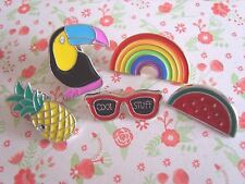 SET of 5 x Cute Toucan Rainbow Watermelon Sunglasses Pineapple Pin Badge Gifts