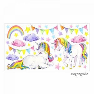 0130c4fdd7 Das Bild wird geladen nikima-072-Wandtattoo-Einhorn-bunt-Regenbogen- Kinderzimmer-Baby-