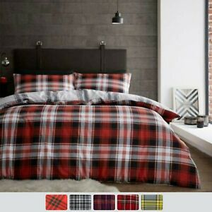 Tartan Check 100 /% Flannel Brushed Cotton Duvet Covers Reversible Bedding Sets