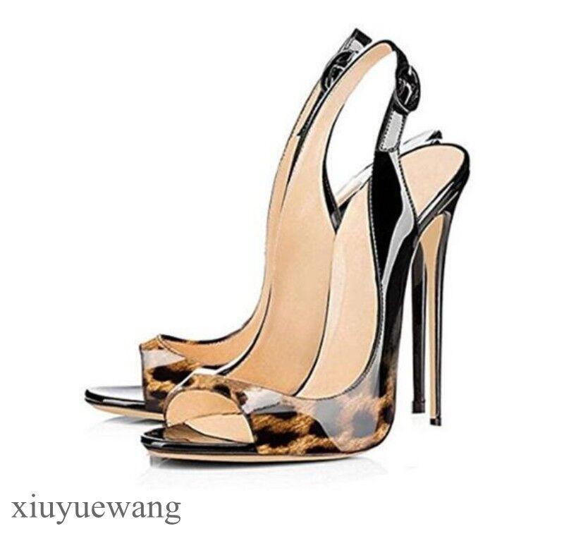 Zapatos de Cuero para Mujer Taco Alto Alto Alto Punta Abierta Zapatos Taco aguja Charol Vestido Fiesta Zapatos Sandalias    mas barato