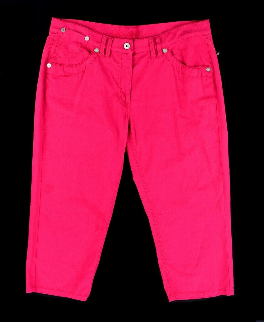 NWT LUISA CERANO Hot Pink Cotton Stretch Cropped Capri Jeans  Women's Size 12