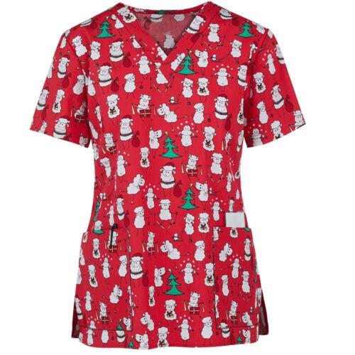 Women Nursing Scrub Tops Printed Medical Uniform Merry Christmas Flowers Shirt *