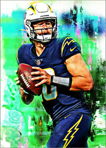 2021 Justin Herbert Chargers Football 13/25 Art ACEO Green Print Card By:Q