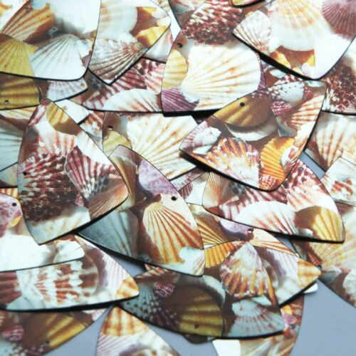 "Fishscale Fin Sequin 1.5"" Scallop Seashell Print Metallic"