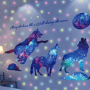 AMODA Glow in The Dark Wall Stickers Pasteable Wolf and Moon Stickers,Creative