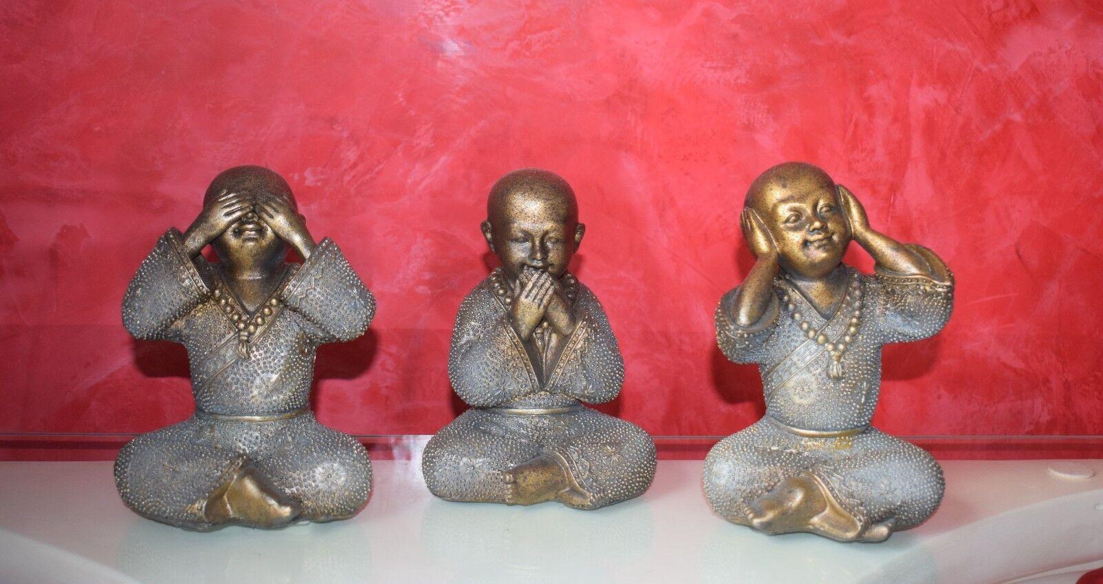 Tre Buddha non parlare, non sono visibili, non sentire PERSONAGGI DECORAZIONE 3er Set