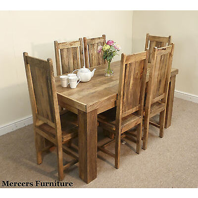 Mantis Light Natural Solid Mango 152cm Dining Table & 6 Chairs Mercers Furniture