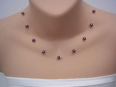 Floating Illusion Pearl Necklace Plus Size Bridal Bridesmaid Wedding 17C