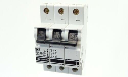 ABL SURSUM Sicherungsautomat 3B.20 Leitungsschutzschalter B20 20A 3-polig 415V~