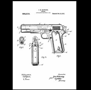 1911-Colt-45-Pistol-PATENT-Drawing-Design-ART-Print-Military-Gun-Browning